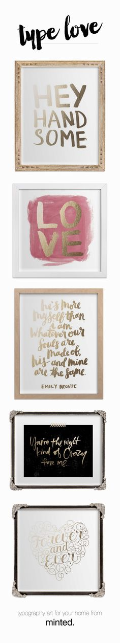 gold foil pressed typography art from minted.com