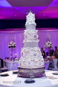 ~ White and Silver Wedding Cake with a Touch of Sparkling Bling ~