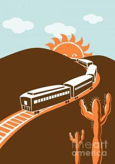WPA Art prints / train desert cactus