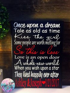 DISNEY Love Story SONG Art Print SALE Quote by OliviaQuinnCouture