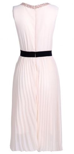 #SheInside Beige Sleeveless Ruffles Front Pearls Neckline Pleated Silk Dress - Sheinside.com