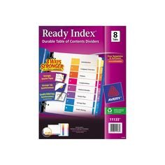Avery Ready Index Contemporary Table of Contents Divider, 1-8, Multi, Letter,