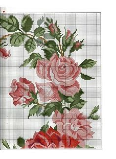 Rose Tablecloth From Le idee d Just Cross Stitch, Cross Stitch Borders, Cross Stitch Flowers, Cross Stitch Charts, Cross Stitching, Cross Stitch Embroidery, Embroidery Patterns, Hand Embroidery, Cross Stitch Patterns