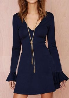 Blue Plain Cut Out Ruffle Trumpet Sleeve Dress - Dresses