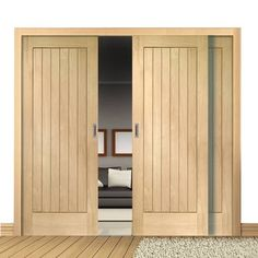 A free delivery is standard, these Easi-Slide Suffolk Oak sliding doors incorporating a frame and track set with fixed side insets. #manysizesdoors #oakdoors #roomdividers