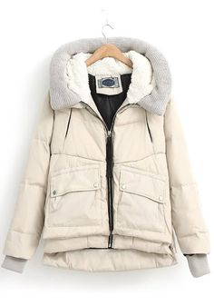 Beige Hooded Long Sleeve Eiderdown Down Coat