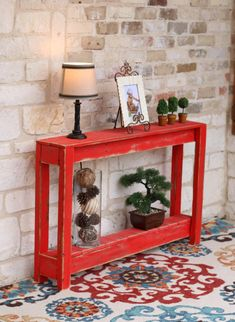 Welcome guests in distressed wood style with this handmade table that accents your room or entryway with a warm rustic finish. Entryway Console Table, Rustic Entryway, Entry Tables, Entry Table Diy, Rustic Furniture, Furniture Decor, Handmade Furniture, Console Furniture, Entryway Furniture