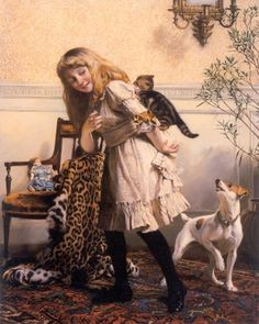 Charles Burton Barber, Any Port in a Storm Fox Terrier and Kittens