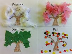 Trendy tree crafts kindergarten four seasons Ideas Seasons Kindergarten, Kindergarten Activities, Preschool Activities, Preschool Seasons, Seasons Lessons, Four Seasons Art, Weather Lessons, Grade 1 Art, Seasons Activities