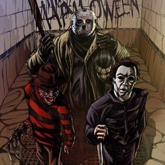 Freddy Krueger(left) Jason Voorhees(center) and Michael Myers ^^ Best Horror Movies, Horror Movie Characters, Iconic Movies, Scary Movies, Horror Icons, Horror Art, Halloween Horror, Happy Halloween, Halloween Stuff