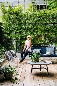 Our courtyard feature in the new Planted Magazine! Photographer: Hannah Blackmore - Stylist: Alana Langan Our courtyard feature in the new Planted Magazine! Back Gardens, Small Gardens, Outdoor Gardens, Rooftop Garden, Balcony Garden, Bamboo Garden, Bamboo Planter, Bamboo Hedge, Bamboo In Pots