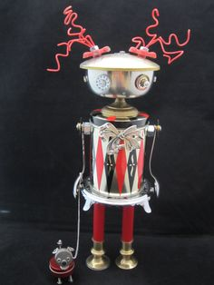 Pixie & her pup Bot - found object robot sculpture assemblage by Cheri Kudja with Bitti Bots by ckudja on Etsy http://appstore/iotmonitor