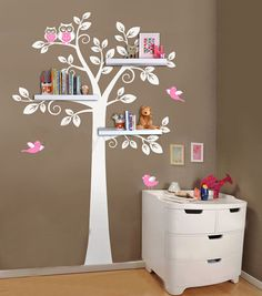 Wall Shelf Tree, Nursery Wall Decals, Decorative Wall Shelves Modern Wall Art Sticker Bedroom Decor Kids Room Decor