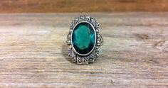 Vintage Sterling Silver Green Glass and Markasite ring at Renaissance Jewelers $60.00