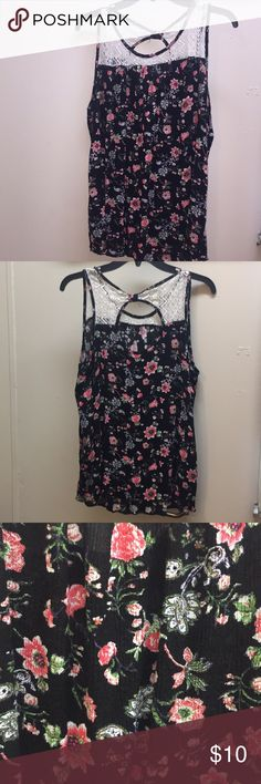 Flowey Maternity Tank Floral, lace maternity tank! Very cute! I bought it not knowing it was a maternity tank and got so many compliments! Does not look like a maternity shirt at all! Keyhole back! Tutta Bella Tops Tank Tops