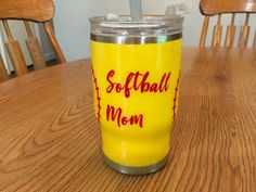 Softball Mom Tumbler. This is hand crafted with paint, glitter and epoxy. Each cup or tumbler can be completely personalized to your specifications! Come check some of them out!