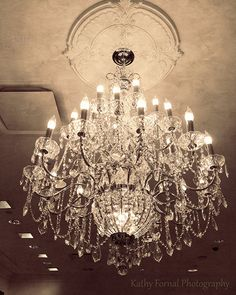 Paris Chandelier Photograph Sparkling Crystal Sepia by KathyFornal, $30.00