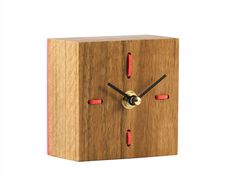 Desk Clock - The Block in Spotted Gum wood with pink accents