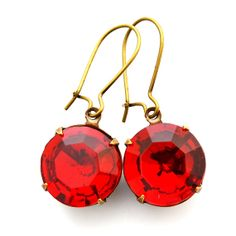 Ruby Red Crystal Earrings Sparklers Vintage Dangle Earrings Siam Red Glass Jewelry