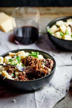 Beef ragu with Parmesan gnocchi. Love the idea of adding Parmesan to the gnocchi