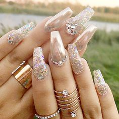 50 Gel Nails Designs That Are All Your Fingertips Need To Steal The Show Gold crome nails glitter and rhinestones Glittery Nails, Fancy Nails, Bling Nails, Glam Nails, Stiletto Nails, Nails Acrylic Coffin Glitter, Acrylic Nails Chrome, Jewel Nails, Gold Sparkle Nails