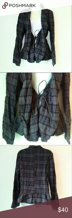 Free People Gray Plaid Jacket Gray and blue plaid jacket with draped lapels and ties in the front. Material is 99% cotton 1% spandex. Excellent brand new condition. Worn once. B9 Free People Jackets & Coats