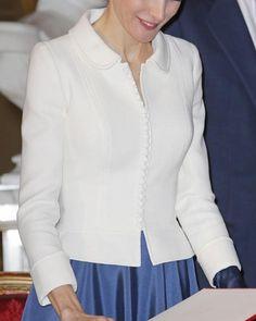 Felipe Varela white wool peplum jacket. Debuted Nov 2014