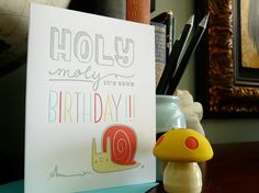 Holy Moly It's Your Birthday Snail Letterpressed Note Card 1pc