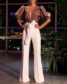 High Waist Tied Waist Pants plus 🔥🔥🔥🔥🔥 by Apparel Mode Costume, Cocktail Outfit, Look Fashion, Fashion Design, Womens Fashion, White Pants, Pants Outfit, Women's Pants, Classy Outfits
