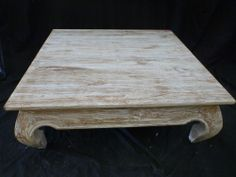 Balinese Furniture Recycled Timber Wooden Low Opium Coffee Table White Wash