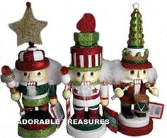 Kurt Adler Holly Wood 3 Assorted Chubby Christmas Nutcrackers Wooden >>> Want additional info? Click on the image.