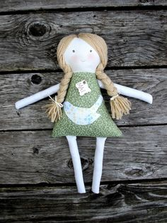 Handmade Cloth Doll, Vintage Style, Soft Fabric Waldorf, Rag Doll, Green Dress with Bird Applique on Etsy, $55.00