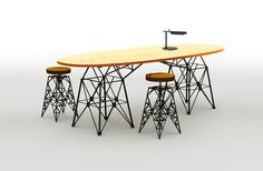 LEP table of plexiglass and metal imitates the design of transmission line towers. Designed by © ARSENY LEONOVICH. 2014