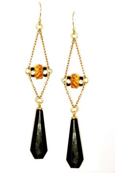 Rhinestone rondelle and black drop Art Deco 1920's inspired earrings.