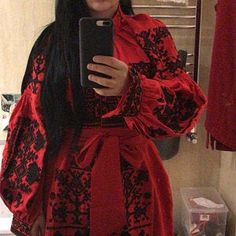 Red boho women dress with black embroidery Linen dress with geometric Ukrainian vyshyvanka maxi dress Ukrainian style chic Ethnic dress Red Chiffon, Chiffon Shirt, Embroidered Clothes, Embroidered Blouse, Ethnic Dress, Boho Dress, Shirt Embroidery, Flower Embroidery, Machine Embroidery