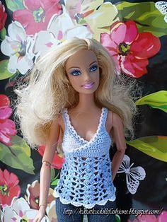Crochet Toy Barbie Clothes Gauge 16 dc = 1 inch rows = 1 inch Also can fit LIV dolls - Gauge 16 dc = 1 inch rows = 1 inch Also can fit LIV dolls See more See less Crochet Barbie Patterns, Barbie Clothes Patterns, Crochet Barbie Clothes, Doll Clothes Barbie, Doll Patterns, Knitting Patterns, Col Crochet, Crochet For Kids, Barbie Top