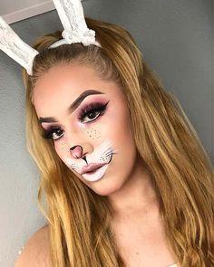 """"""""""" 23 Bunny Makeup Ideas for Halloween """""""" Pretty Bunny Face Makeup """""""" Bunny Halloween Makeup, Bunny Makeup, Makeup Vs No Makeup, Cute Makeup, Pretty Makeup, Makeup Brush Set, Eyeshadow Makeup, Bridal Makeup, Makeup Ideas"""