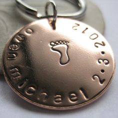 Hand Stamped Keychain for Dad - Personalized Keyring - Custom Mens Gift - New Dad Keychain.Etsy.