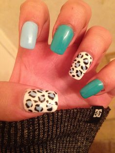 More leopard print mixed with a light blue and bluey green