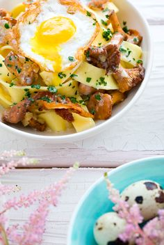 Pappardelle with Creamy White Wine Sauce, Mushrooms, and Fried Egg