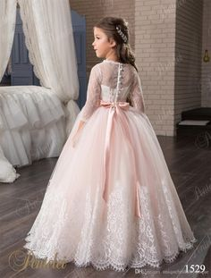 Blush Flower Girls Dresses with 3/4 Long Sleeves and Beaded Belt 2017 Pentelei Princess Lace Tulle First Communion Gowns for Little Girls