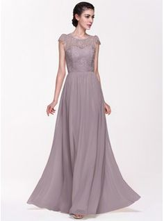 A Line Princess Scoop Neck Floor Length Chiffon Lace Bridesmaid Dress 007068153