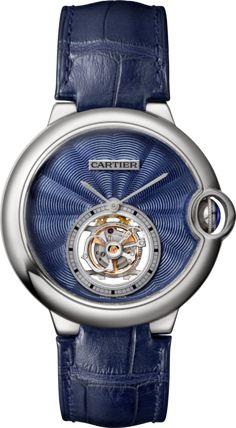 Ballon Bleu de Cartier Flying Tourbillon watch 39 mm, 18K white gold, leather