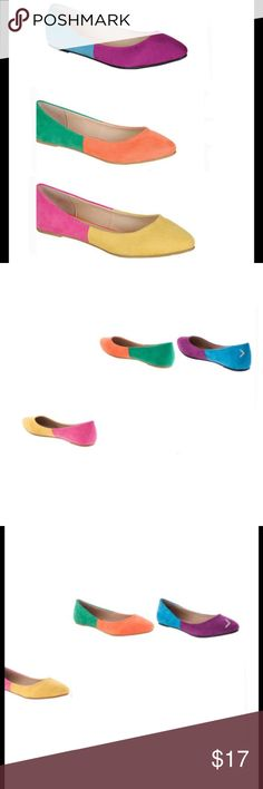 Colorful Ballet flats Versatile and Comfortable, yet Super Stylish! Get Ready for Spring with these Candy Color Ballet Flats. Pointed toe and bright color combos will give you comfort and Style!  Choose From:  Orange/Green  Purple/Blue Yellow/Fuchsia SELECT YOUR SIZE AND COLOR AND ADD TO BUNDLE OR PURCHASE Via Pinky  Shoes Flats & Loafers