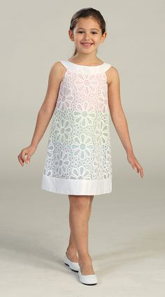 Adorable Sleeveless Organza Dress w/ Daisy Eyelet Design Girl Dress