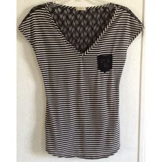 Striped Lace Back Pocket Top Excellent condition. Little wash wear on the front. Few threads on the back. Super cute Nicolette top. Black and white striped soft fabric front. Black floral lace back. Lace pocket on the front. V-neck. Nice small cap sleeves. Size small. Boutique Tops Blouses