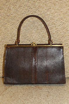 Vintage 1960s jane shilton brown lizard skin luxury #suede #lined bag #handbag,  View more on the LINK: 	http://www.zeppy.io/product/gb/2/272040038389/