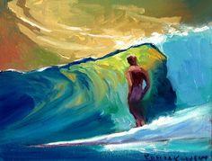 Art by Wade Koniakowsky Ocean Art, Ocean Waves, Hawaiian Art, Surfer Magazine, Wave Art, Surf Art, Beach Art, Medium Art, Painting Techniques