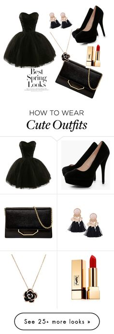 """""""Cute Outfit"""" by liveforfriendship28 on Polyvore featuring Boohoo, Louise et Cie, Yves Saint Laurent and H&M"""