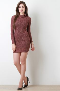 ShopThis marled ribbed knit dress features a turtle neckline, long sleeves, stretchy sculpture fit, mini length hemline, and partially lined. Model Outfits, Cute Girl Outfits, Sexy Outfits, Girl Fashion, Fashion Dresses, Beautiful Girl Indian, Beautiful Women, Short Dresses, Girls Dresses